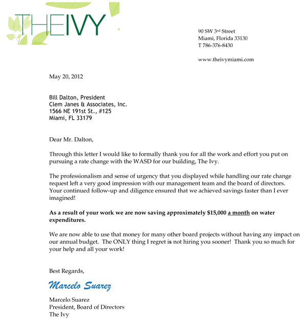 Letter of reference the ivyg the ivy condominium testimonial spiritdancerdesigns Image collections