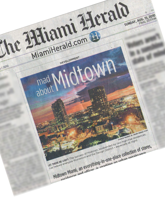 2 and 4 Midtown Condominiums rise above the Design District and Midtown Miami.